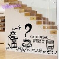 DCTAL Coffee Sticker Break Decal Cafe Poster Vinyl Art Wall Decals Pegatina Quadro Parede Decor Mural Coffee Sticker