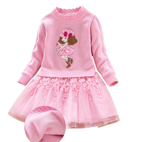 Girls Winter Dress Baby Cotton Sweater Dresses Thicker Velvet Ball Gown Lace Princess Clothing for 4y 8y
