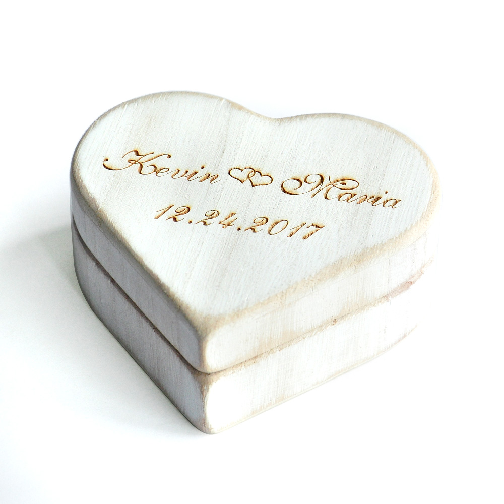Vintage White Heart Wedding Ring Box, Personalized Wood Wedding Ring ...