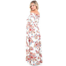 Boat Neck Stretch Cotton Print Maternity Dress For Photo Shoots