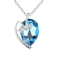 2017new heart pendant necklace with crystal from swarovski good for mother's gift wholesale bijoux