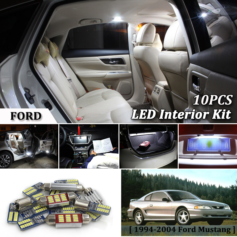 10Pcs White Canbus led Car interior lights upgrade Kit for 1994 - <font><b>2004</b></font> Ford <font><b>Mustang</b></font> led interior Dome Trunk lights image