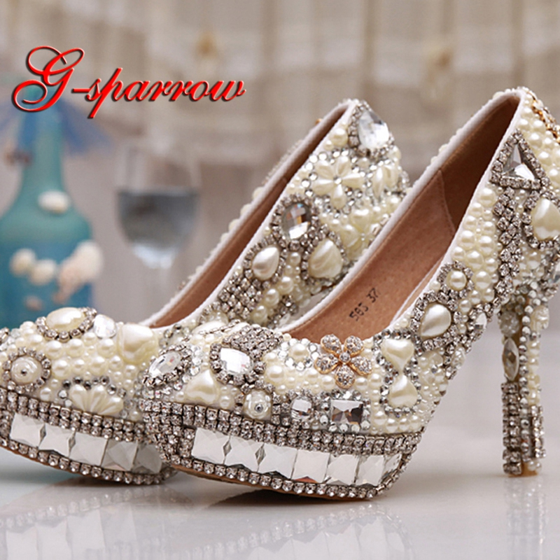 Ivory Pearl Wedding Shoes with Crystal Platforms 4 Inches High Heel Customized Girl Birthday Party Pumps Beautiful Lady Shoes