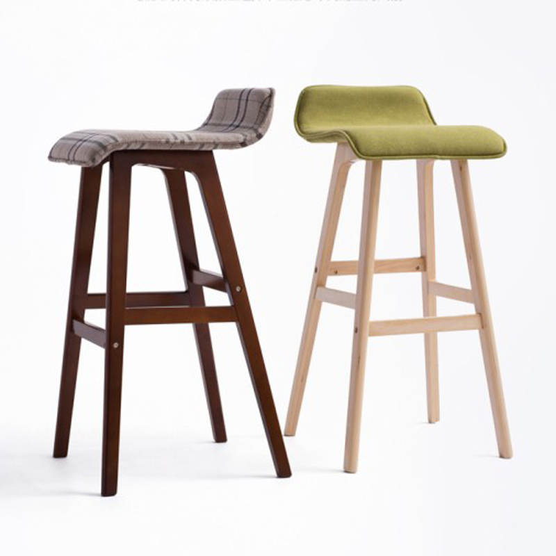 100% wood Bar chair,pure cotton cloth,pastoral style bar chair,leisure style,Multiple color choices,Wood Bar furniture wood pu bar chair pure cotton cloth pastoral style bar chair leisure style high and low style bar stool can bar chair rotation