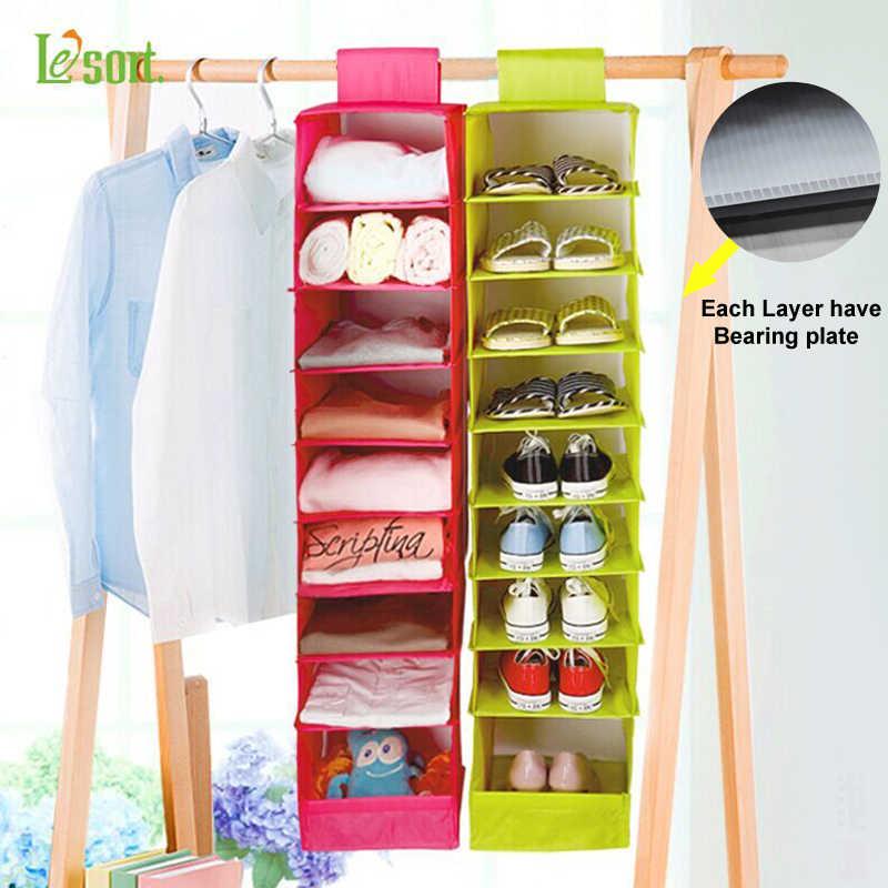 Lesort Closetware Fabric Wardrobe Hanger Storage Bag Clothing Underwear Closet Hanging With 9 Shelf Household