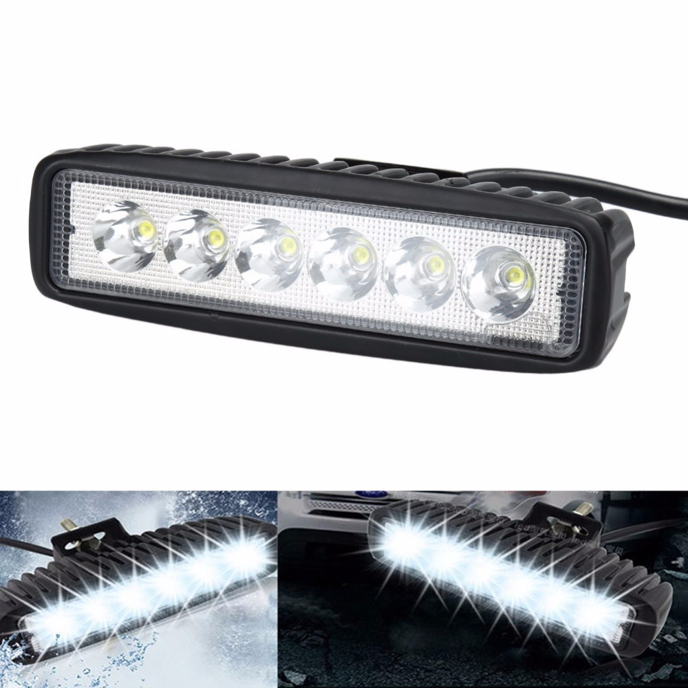 18W Flood LED Work Light ATV Light-emitting Diode Driving Fog Lamp Bar for 4x4 Offroad SUV Truck Trailer Tractor Auto Car Moto 7 inch 51w car round led work light 12v high power 17 x 3w spot for 4x4 offroad truck tractor atv suv jeep driving fog lights