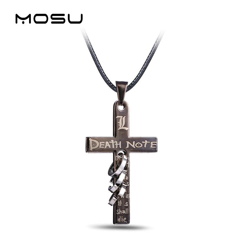 Hot Anime Death Note Black Gold Metal Necklace Cross Logo Pe