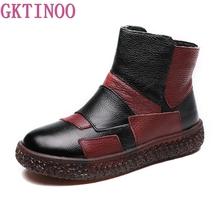 GKTINOO 2019 Women Boots with Fur Winter Leather Handmade Boots Flat Shoes Mulitcolor Genuine Leather Boots for Women