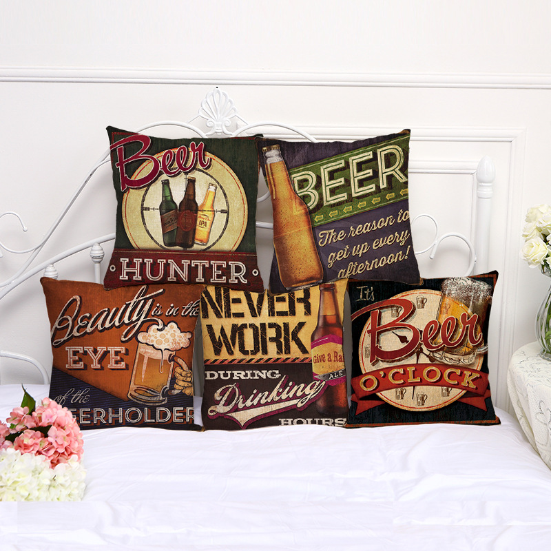Vintage Beer Linen Cotton Pillow Cover Home Decor Painting Cushions Cover Decorative Throw Pillows Pillowcase Wedding Gift