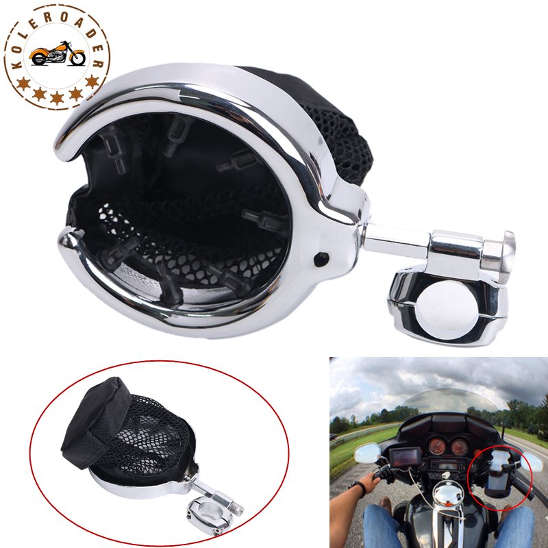 Chrome Drink Holder Cup Bottle Holder For Harley Touring Sportster Dyna Honda Yamaha Suzuki Motorcycle with 1