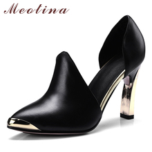 Купить с кэшбэком Meotina High Heels Shoes Women Natural Cow Leather Thick High Heel Two Piece Shoes Genuine Leather Pointed Pumps Lady Size 33-41