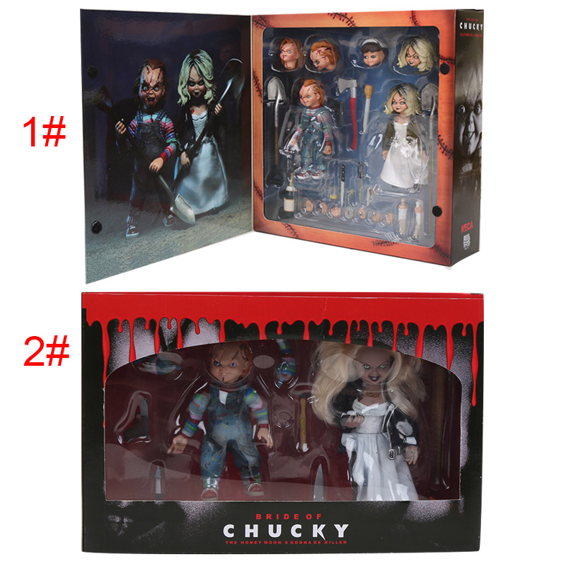 2pcs/set NECA Good Guys Action Figure Toy Child's Play Scary Bride of Chucky Horror Toy Model Doll Halloween Decorations