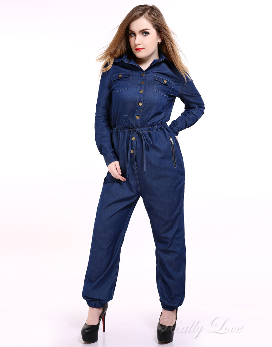 cf6f743a448 Popular Plus Size Denim Jumpsuit-Buy Cheap Plus Size Denim .