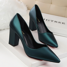 Women shoes high heels retro fashion temperament simple and comfortable shallow mouth pointed thick with single shoes ms single shoes 2018 british new thick with pointed shoes shallow mouth with low fashion fashion wild shoes a generation
