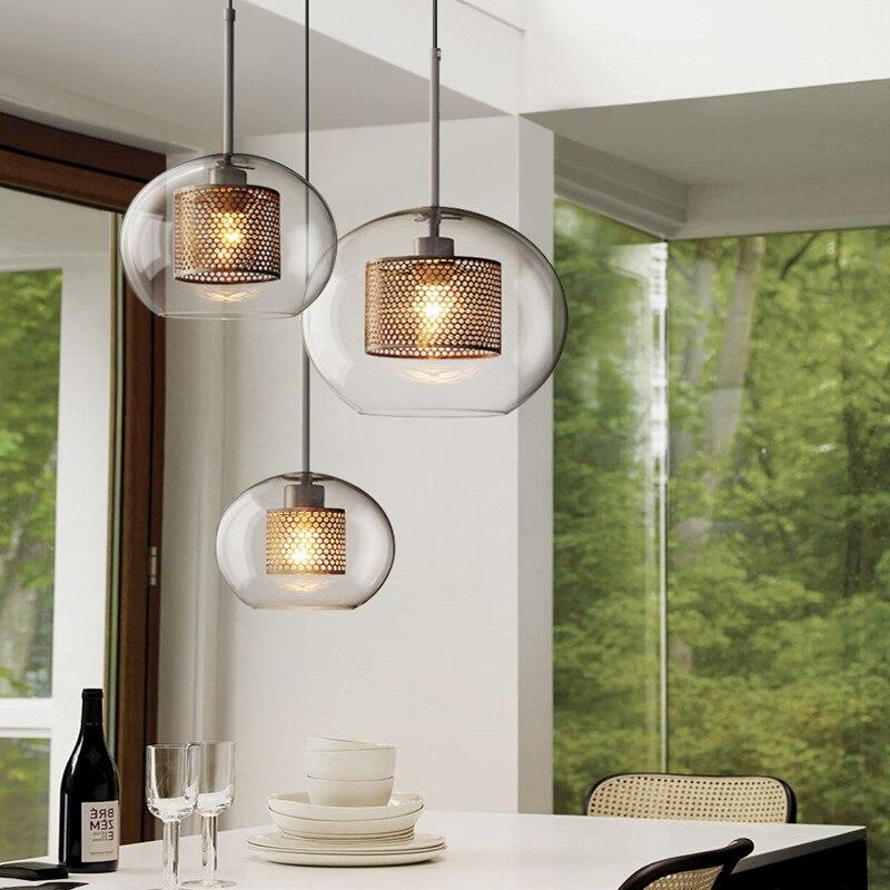 Nordic Industrial Loft Light Creative Concise Glass Dining Room Pendant Light Retro Bar Study Hanging light