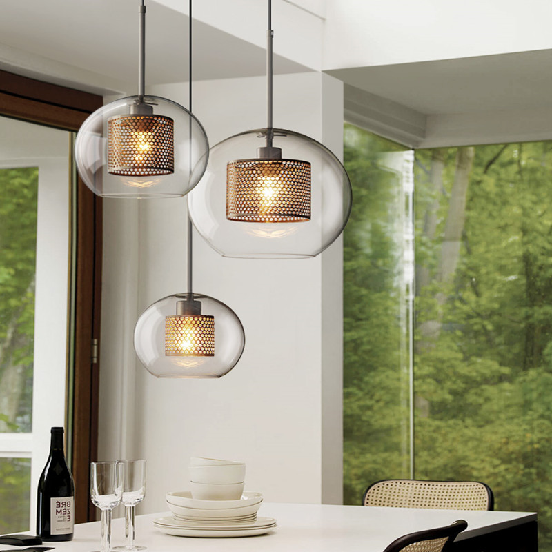 Nordic Industrial Loft Light Creative Concise Glass Dining Room Pendant Light Retro Bar Study Hanging Light Free Shipping