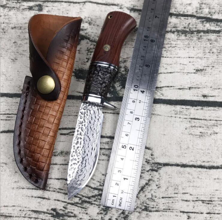 PSRK Hunting Damascus Retro VG10 Steel Tactical Fixed Blade Knife Cowhide Sheath outdoor survival EDC tool camping kitchen knive golden bathroom basin sink tap bottle pop up waste trap drain square p trap kit set brass 11 095