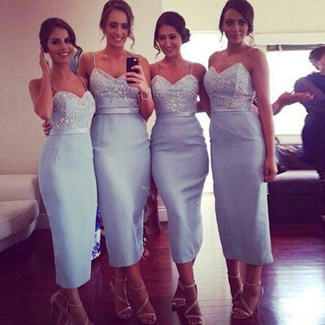 76e3f85cad 2016 Cheap Fashion Sheath Spaghetti Straps Crystal Appliques Beading Tea  Length Baby Bridal Gown Long Bridesmaid Dress for women