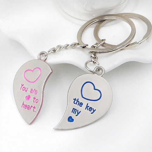 Мода 1 пара Любовник Пара Любовь Сердце брелок Брелок свадебный подарок брелок 6KBQ 7FFF 7RSW