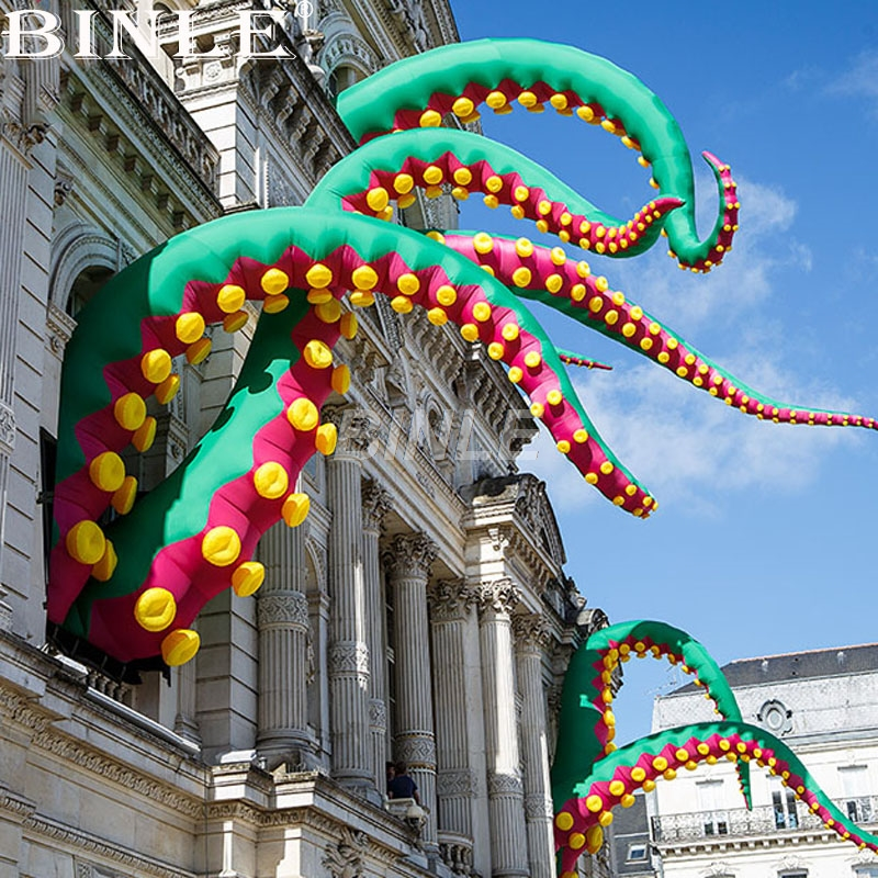 Customized Urban-Art Outdoor Green Giant Inflatable Octopus Tentacle Inflatable Inkfish Feet For Halloween Decoration