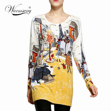 2018 fashion and high quality women's print pullover sweater long knitting sweater dress plus size loose basic sweater C-016