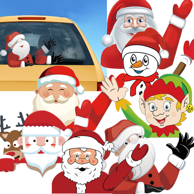 Window Sticker Decor Home Wiper Decal Christmas Waving Xmas Santa Claus Snowman