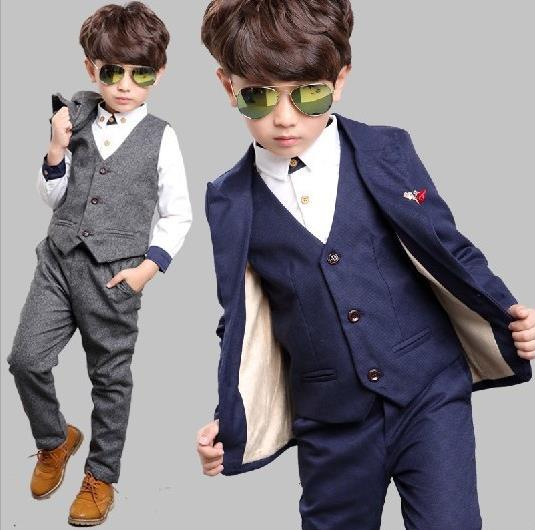 2-12T New 3Pcs Boys Solid Wedding Suit England Style Gentle Boys Formal Tuxedos Suit Kids Spring Clothing Set KS-1617