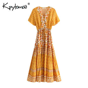 Boho Chic Summer Vintage Floral Print Buttons Long Dress Women 2019 Fashion V Neck Lace Up Pleated Beach Dresses Vestidos Mujer - DISCOUNT ITEM  41% OFF All Category