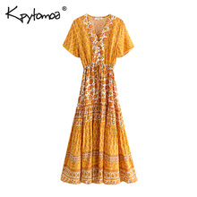 Boho Chic Summer Vintage Floral Print Buttons Long Dress Women 2019 Fashion V Neck Lace Up Pleated Beach Dresses Vestidos Mujer