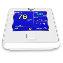 цена на Digital AQI Air Quality Monitor TVOC HCHO PM1.0 PM2.5 PM10 Temperature Humidity Meter Gas Analyzer Household Detector USB Charge