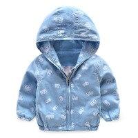 2017 New Elephant Girls Windbreaker Children Blue Jean Jackets Kids Hooded Coats For Boys