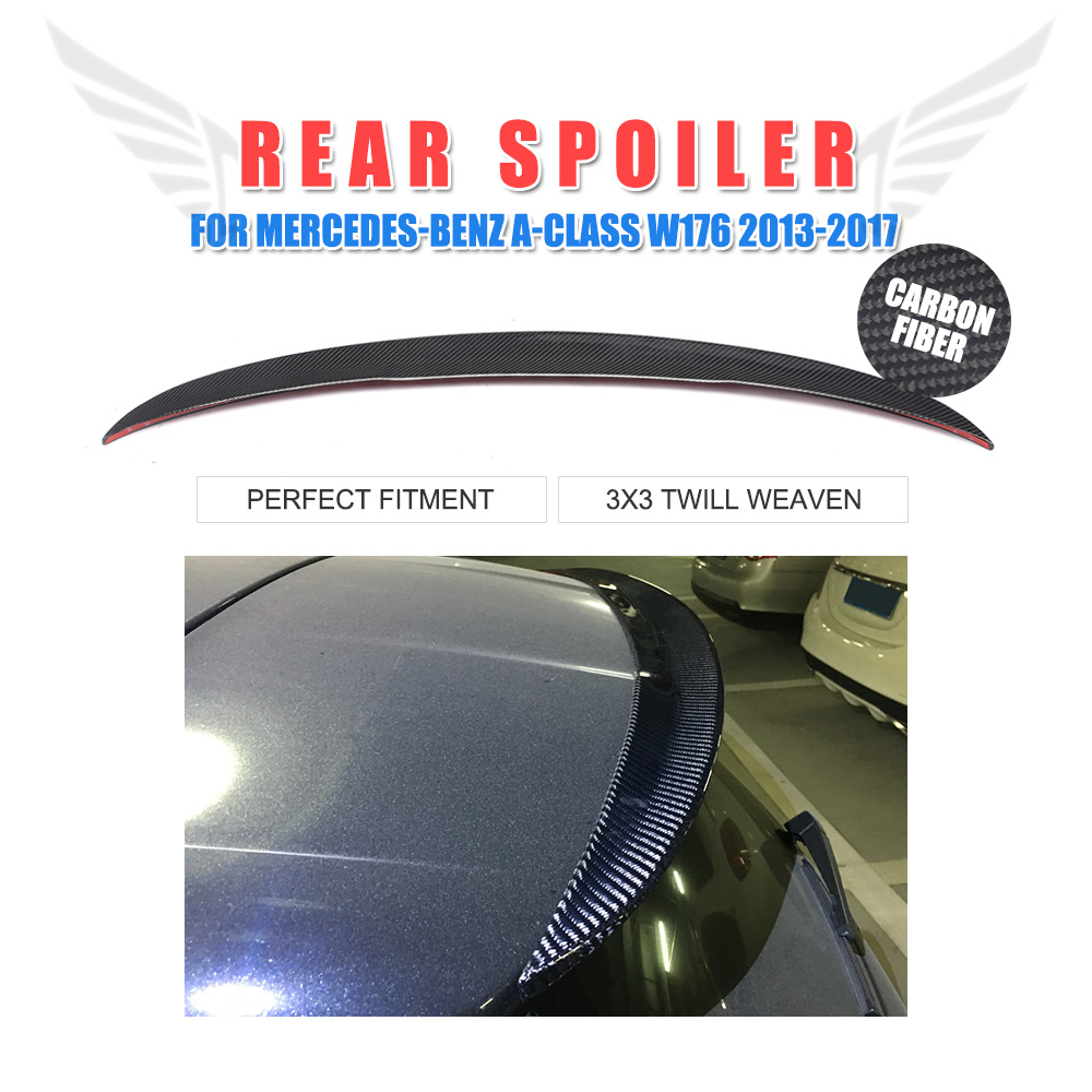 Carbon fiber/FRP Unpainted Rear Roof Spoiler Wing for Mercedes Benz A Class W176 A250 A45 AMG 2013-17 Trunk Window Spoiler for v slot openbuilds isolation column separate pillar quarantine bore 5 1mm carbon steel c beam