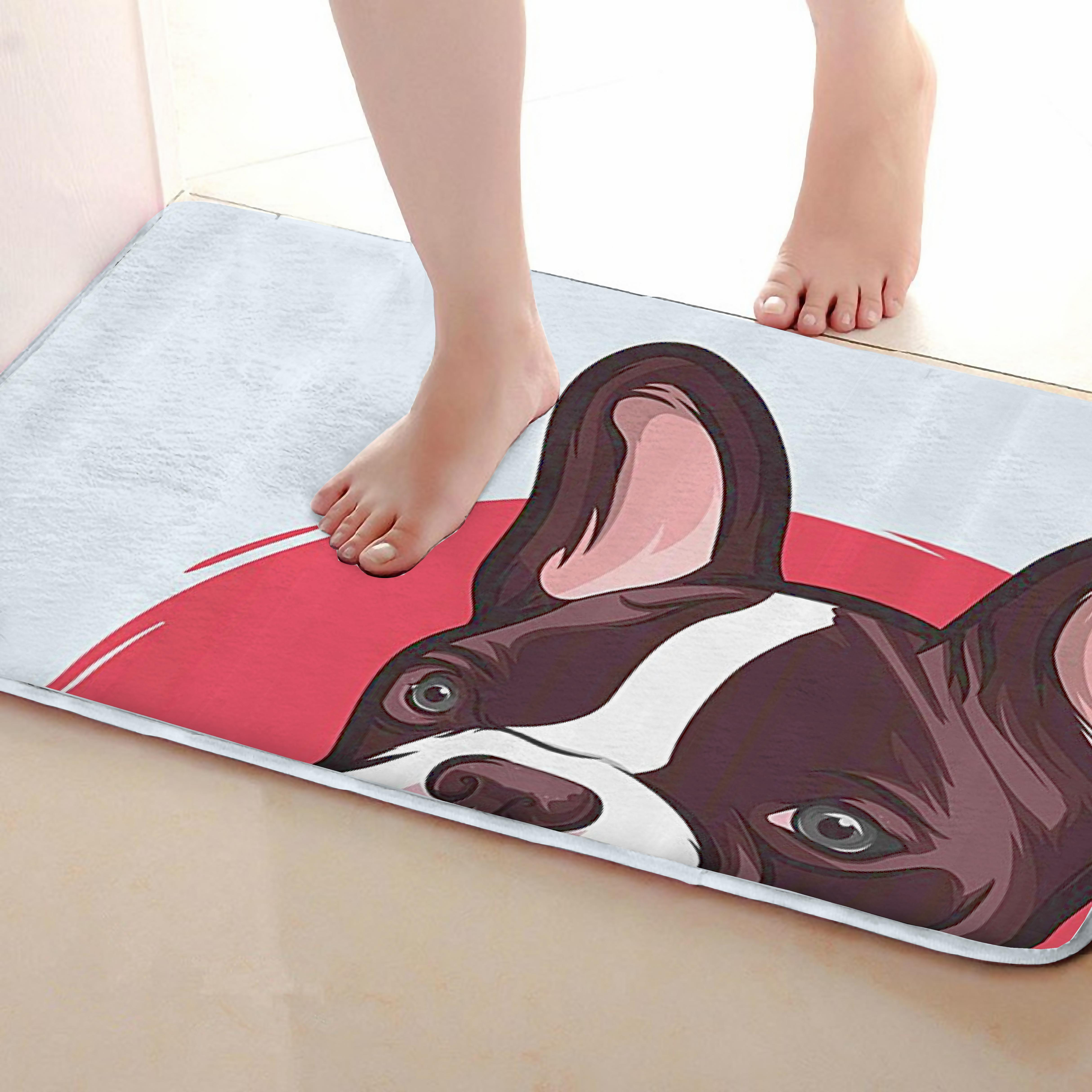 Dog Style Bathroom Mat,Funny Anti Skid Bath Mat,Shower