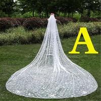 A Style 3 Meters Cathedral Wedding Veils 300*300cm Lace Appliques Edge Bridal Veil Wedding Accessories Bride Wedding Veil
