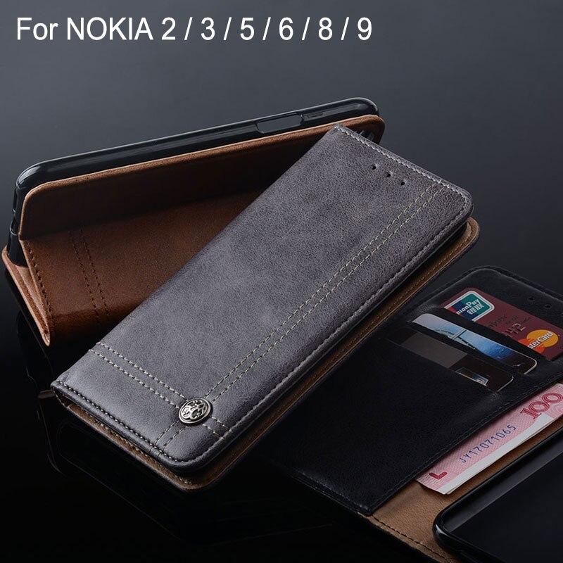 Cas pour NOKIA 2 3 5 6 8 9 coque De Luxe En Cuir Flip Stand de couverture Fente Pour carte Sans aimant Portefeuille pour NOKIA 2 3 5 6 8 9 cas capa