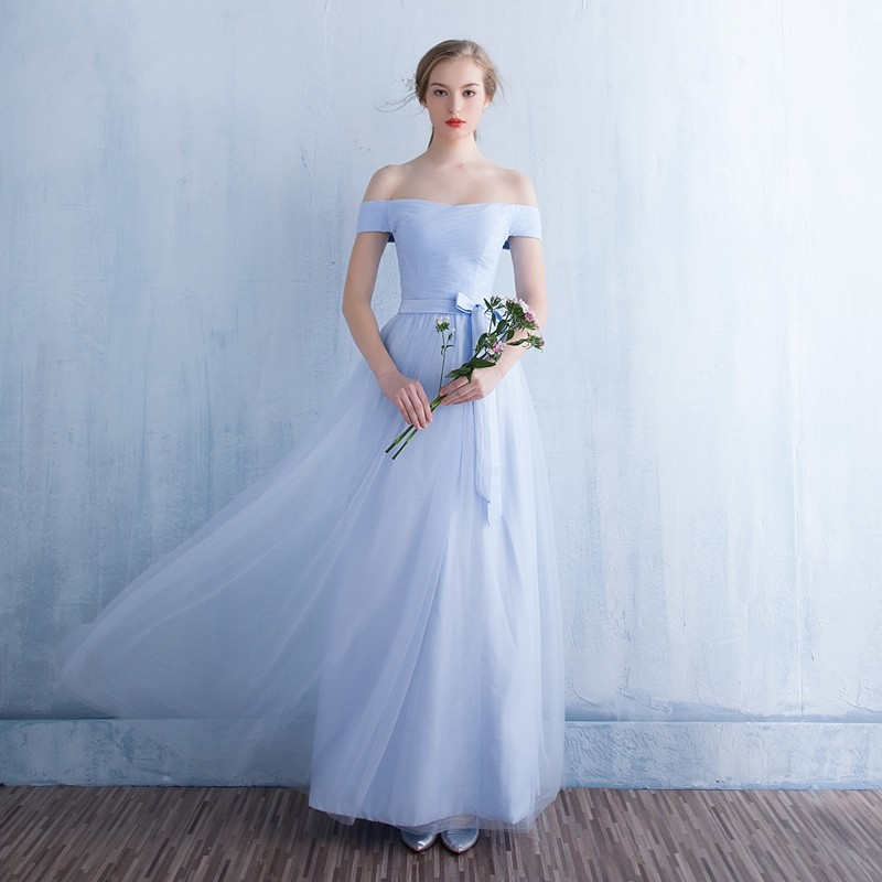 Cap Sleeve Boat Neck   Bridesmaid     Dresses   Elegant Long A Line Wedding Party   Dress   with Corset Back Prom Party   Dress   MB4