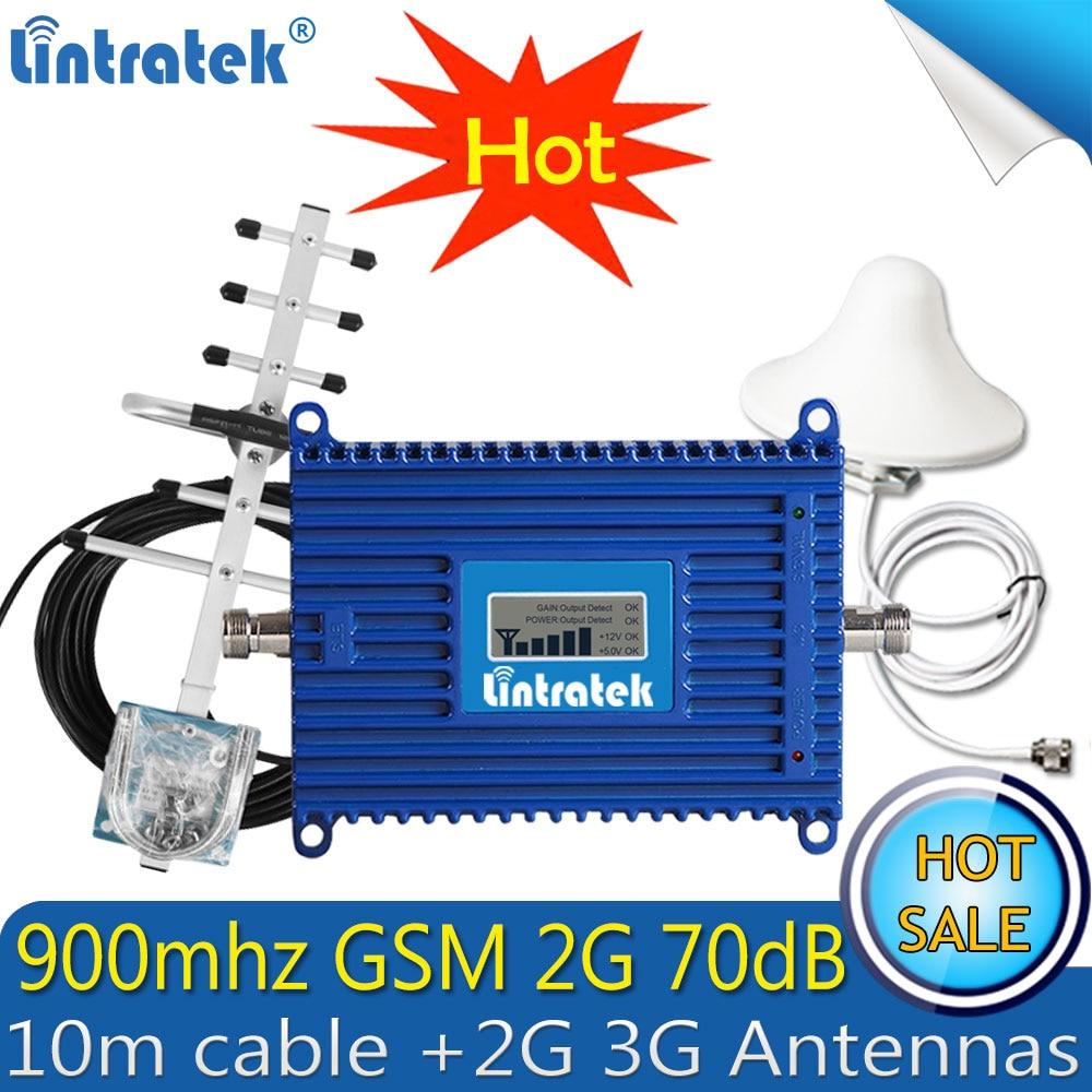 Lintratek GSM 900Mhz 2g Booster Gsm Repeater 900mhz Repetidor De Sinal Celular Gain 70dB 2g Mobile Signal Amplifier LTE Antenna