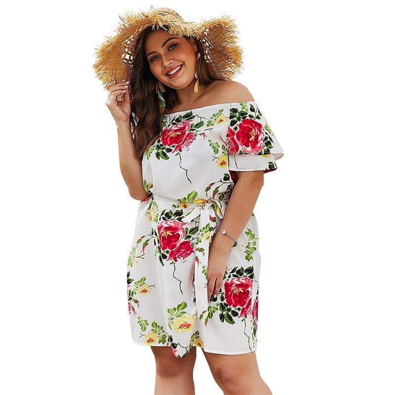 WHZHM Plus Size 3XL 4XL Beach Dress Slash Neck Summer Flower Women Party Female Short Sleeve