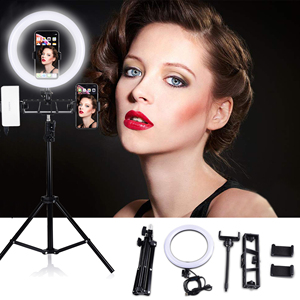 Image 3 - 55/120/160/100 CM Tripods Circle Video Live Photo 6/10 INCH Dimmable LED Ring Lamp for Makeup Photography Selfie