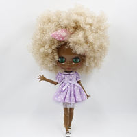 Kids Cartoon Doll Model Nude Blyth Doll Cream White Curly Hair With Joint Body Dark Black