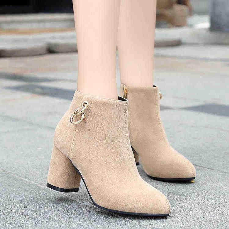 Retro untuk Wanita Vintage Blok Tumit Sepatu Bot Sisi Ritsleting Sepatu Hak Tinggi Sepatu Wanita Ukuran Besar 35-43 C225