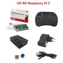 Сделано в ВЕЛИКОБРИТАНИИ Raspberry Pi 3 Модель B + Чехол + 2.4 ГГЦ Беспроводной клавиатура + 2.5A Зарядное Устройство + Переключатель USB Зарядный Кабель + Теплоотвод