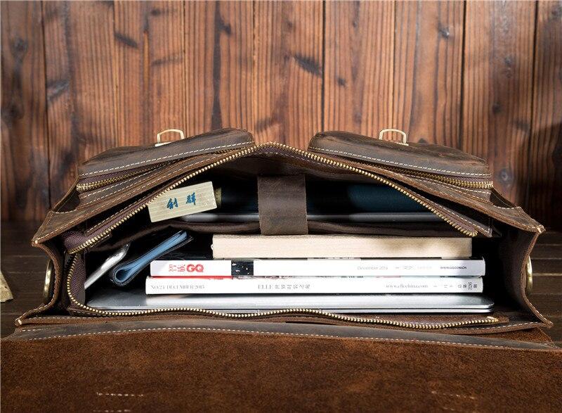 HTB1pIbKl2NNTKJjSspfq6zXIFXan Top Grade Male Men's Vintage Real Crazy Horse Leather Briefcase Messenger Shoulder Portfolio Laptop Bag Case Office Handbag 1061
