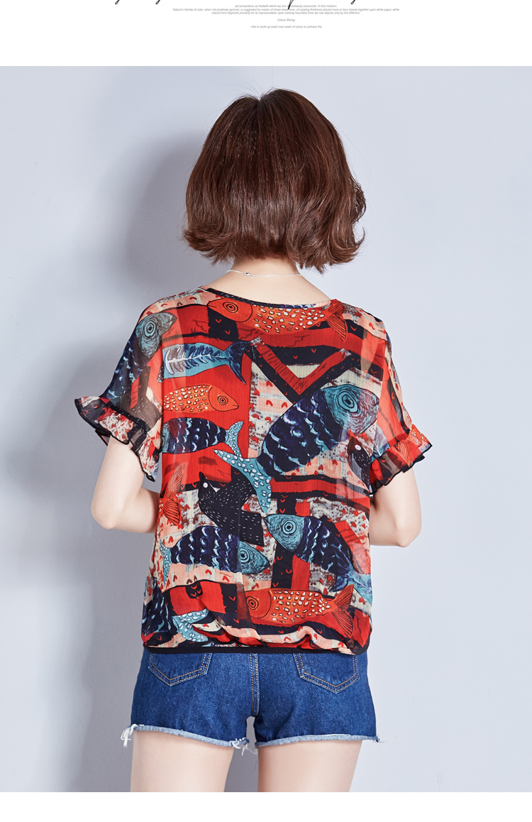 2018 new multi color fish print women summer chiffion blouse 2XL ...