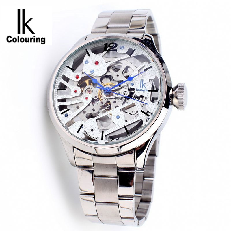 цена на New 2017 IK Colouring Luxury Orologio Uomo Men's Mechanical Skeleton Watch Auto Men's Watches Wristwatch Free Ship