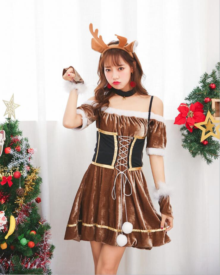 Christmas Zombie Costume.New Style Christmas Deer Cosplay Costumes Elk Dress Hot Sale