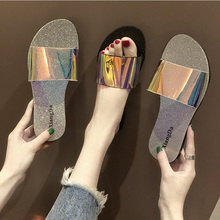 Slippers Women in Summer 2019 New Fashion Outside Flat-bottomed Beach Shoes Transparent Candy Colored
