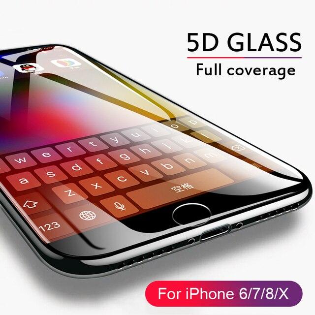 9ecfab7376e 5D borde curvo de vidrio templado para iPhone 6 6 s Plus 7 8 de vidrio de  la cubierta completa Protector de pantalla ...