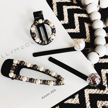 Japan and Korea Fashion Hairpin Simple Sweet Pearl Black Beads Zircon Rhinestone Hairdressing Bangs Clip Women Hair Accessories