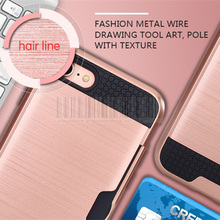 Phone Case For Apple iPhone 7 4.7 inch Mix Color Hybrid Brush Armor Rugged Case With Card holder Protective Cover